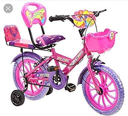 Global Barbie 14T (Pink) Kids Bicycle for 2 to 5 Years Fully Adjustable with Back Seat and Back Support for Boys and Girls