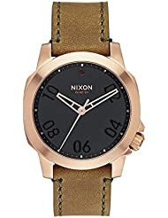 NIXON Mens The Ranger 40 Leather Rose Gold/Brown Watch