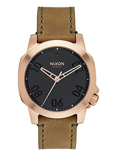 NIXON Men's The Ranger 40 Leather Rose Gold/Brown Watch