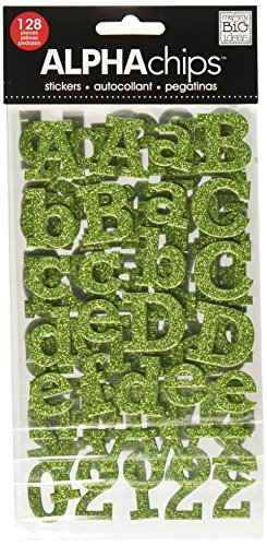 me & my BIG ideas Alpha Chips Designer Chipboard Letter Stickers, Rockwell Alphabet, Light Green Glitter