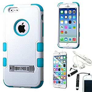 [STOP&ACCESSORIZE] WHITE TEAL DUAL LAYER SNAP FIT COVER RIBBED KICKSTAND CASE for APPLE IPHONE 6 4.7 INCH + FREE ACCESSORIES