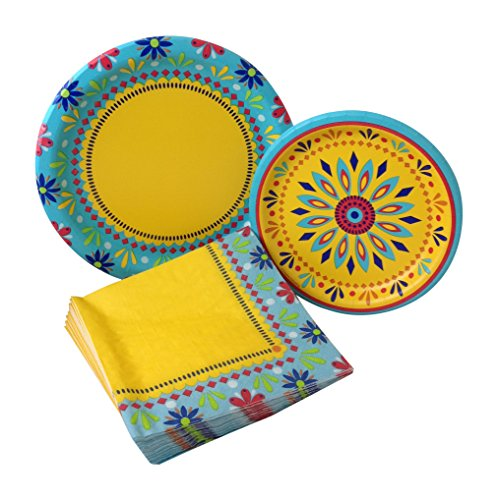 Southwestern Pottery (Painted Pottery Fiesta Party Bundle with Paper Plates and Napkins for 8 Guests)