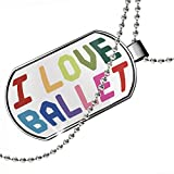 Dogtag I Love Ballet,Colorful Dog tags necklace - Neonblond