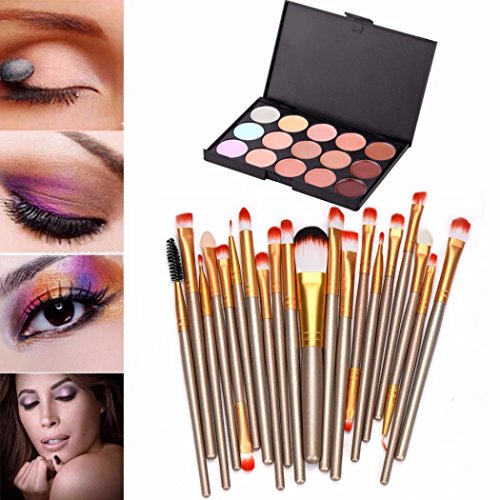 Nars Makeup Brush Flat Concealer (Kingfansion 15 Colors Contour Face Cream Makeup Concealer Palette Professional + 20 BRUSH (Golden))