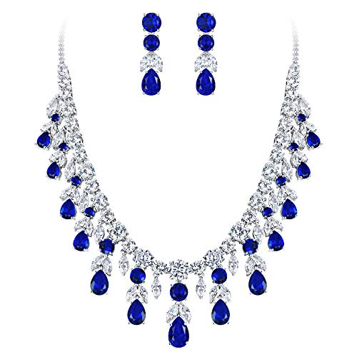 BriLove Wedding Bridal Necklace Earrings Jewelry Set for Women CZ Cluster Leaf Teardrop Statement Necklace Dangle Earrings Set Sapphire Color Silver-Tone (Sapphire Costume Jewelry)
