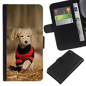 Sony Xperia Z3 D6603 / D6633 / D6643 / D6653 / D6616 , la tarjeta de Crédito Slots PU Funda de cuero Monedero caso cubierta de piel ( Dog Puppy Labrador Golden Reriever Brown)