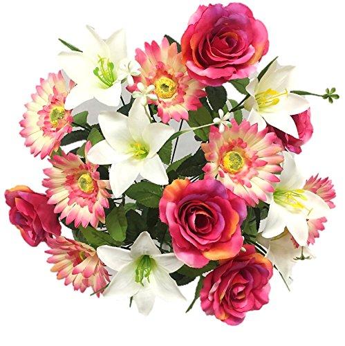Silk Flower Garden Roses Lilies Daisies Mixed Bouquet 18 Heads 21