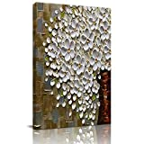 Home Decor Canvas Wall Art Painting, White Flower Vase Prints, Morden Artwork Framed for Living Room Wall Decorations Ready to Hang 12'x18'