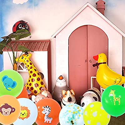 Haimimall 70 Pieces Animals Balloons Jungle Safari Birthday Decorations Balloons Kids Party Balloons Jungle Theme Baby Shower Decorations: Toys & Games