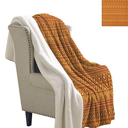 (Orange Fashion Design Ethnic Tribal Borders Ornaments Aztec Native American Culture Folk Blanket Small Quilt 60x32 Inch Pale Orange Burgundy)