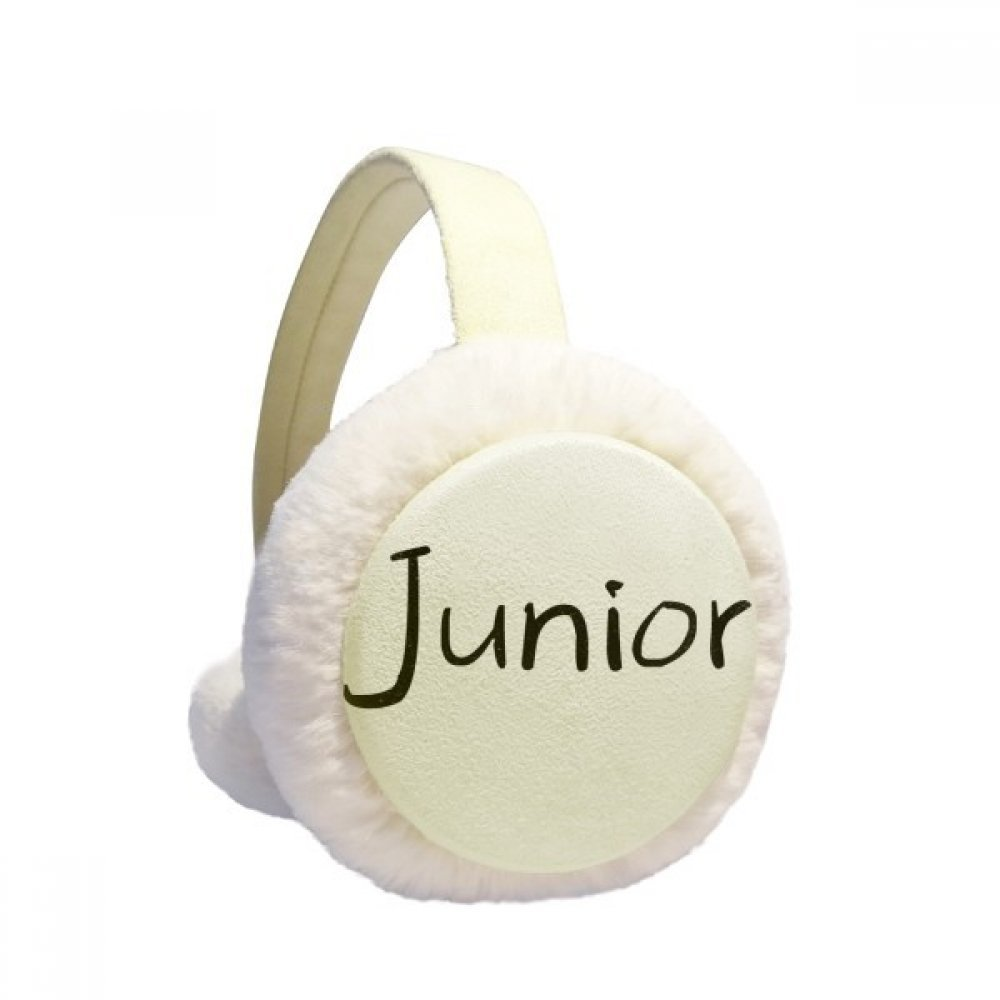 Black Single Words Junior Winter Earmuffs Ear Warmers Faux Fur Foldable Plush Outdoor Gift