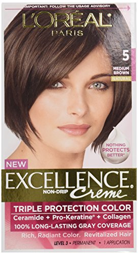 L'Oréal Paris Excellence Créme Permanent Hair Color, 5 Medium Brown (1 Kit) 100% Gray Coverage Hair Dye -  L'Oreal Paris Hair Color, LH21055