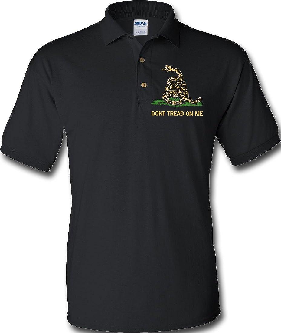 Don't Tread On Me Polo Shirt- Black at Amazon Men's Clothing store