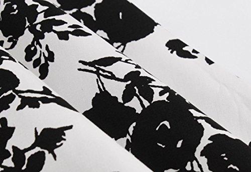 Mi anne Noir 50s par Courte Soire Femme Fleurs Fleur Vintage Robe MisShow de Coton Imprime en Cocktail Chic Longue Z0YqwqSzT