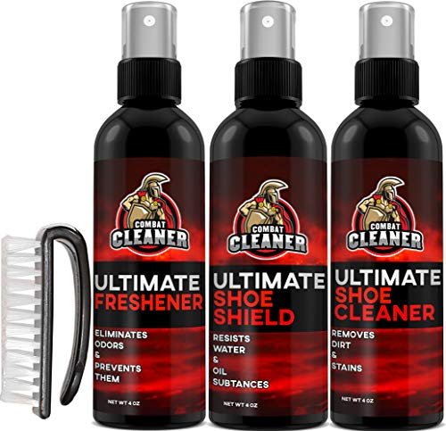 Ultimate Shoe Cleaner Kit By Combat Cleaner | Shoe Cleaner + Shoe Deodorizer Spray + Shoe Shield + Brush | Used for Sneakers, Tennis Shoes, Leather, Suede (Best Shoe Cleaning Kit For Jordans)