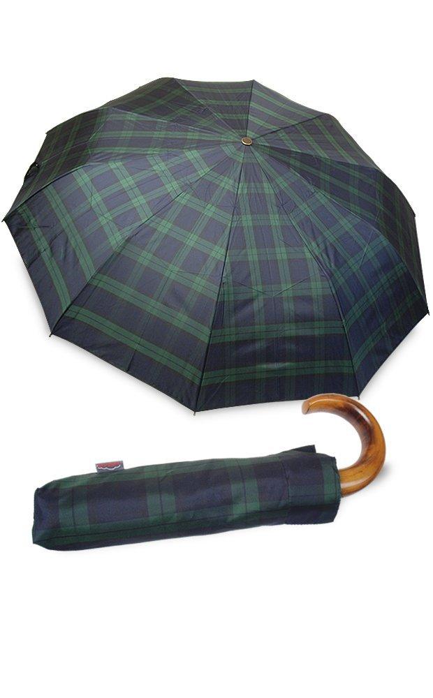 イタリアミラノ老舗傘ブランド【rainbow/レインボー】折りたたみ傘 雨傘 ワンタッチオープン 天然木 ウッドハンドル ギフトにも最適(全5色) B008CMXECY ブラックウォッチ ブラックウォッチ