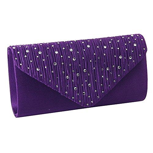 UNYU Ladies Rhinestone Envelope Clutch Bag Classic Satin Pleated Clutch Evening Handbag Purse Purple