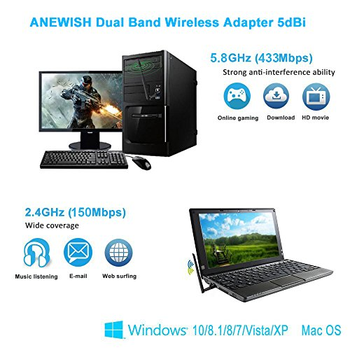 ANEWISH WiFi Adapter ac600Mbps Wireless USB Adapter 5GHz/2.4GHz Dual Band Network LAN Card with 5dBi External Antenna Compatible PC/Desktop/Laptop/Tablet, Windows 10/8.1/8/7/XP, Mac OS 10.9-10.13.6 by A-NEWISH (Image #3)