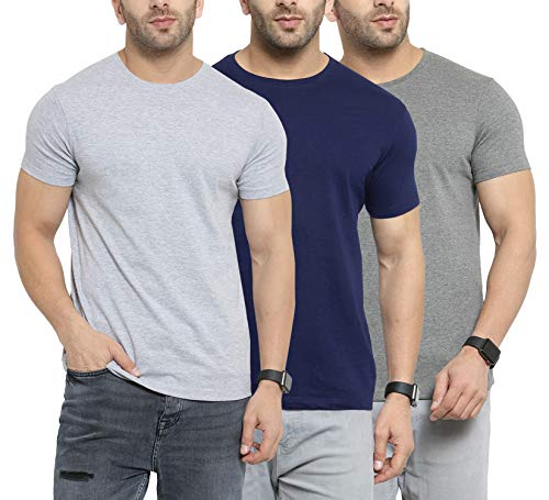 Scott International Men's Basic Cotton Round Neck Half Sleeve Solid T-Shirts – Pack of 3