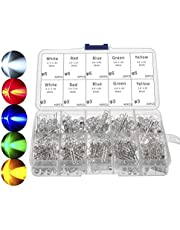 3mm and 5mm LED Lights Emitting Diodes Assortment Set Kit for Arduino Bright White Red Blue Green Yellow, 300-Pack