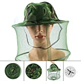 Mosquito Anti Head Face Net Hat Mask, Camo Army Green Outdoor Sun Guard Long Mesh Netting Clothing for Men Women, Fishing Safari Military Hunting Hiking Camping Faca Veil Protection Insect Bug Fly Bee