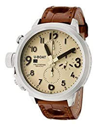 U-Boat Men's Flightdeck Automatic/Mechanical Chronograph Beige Dial Brown Alligator