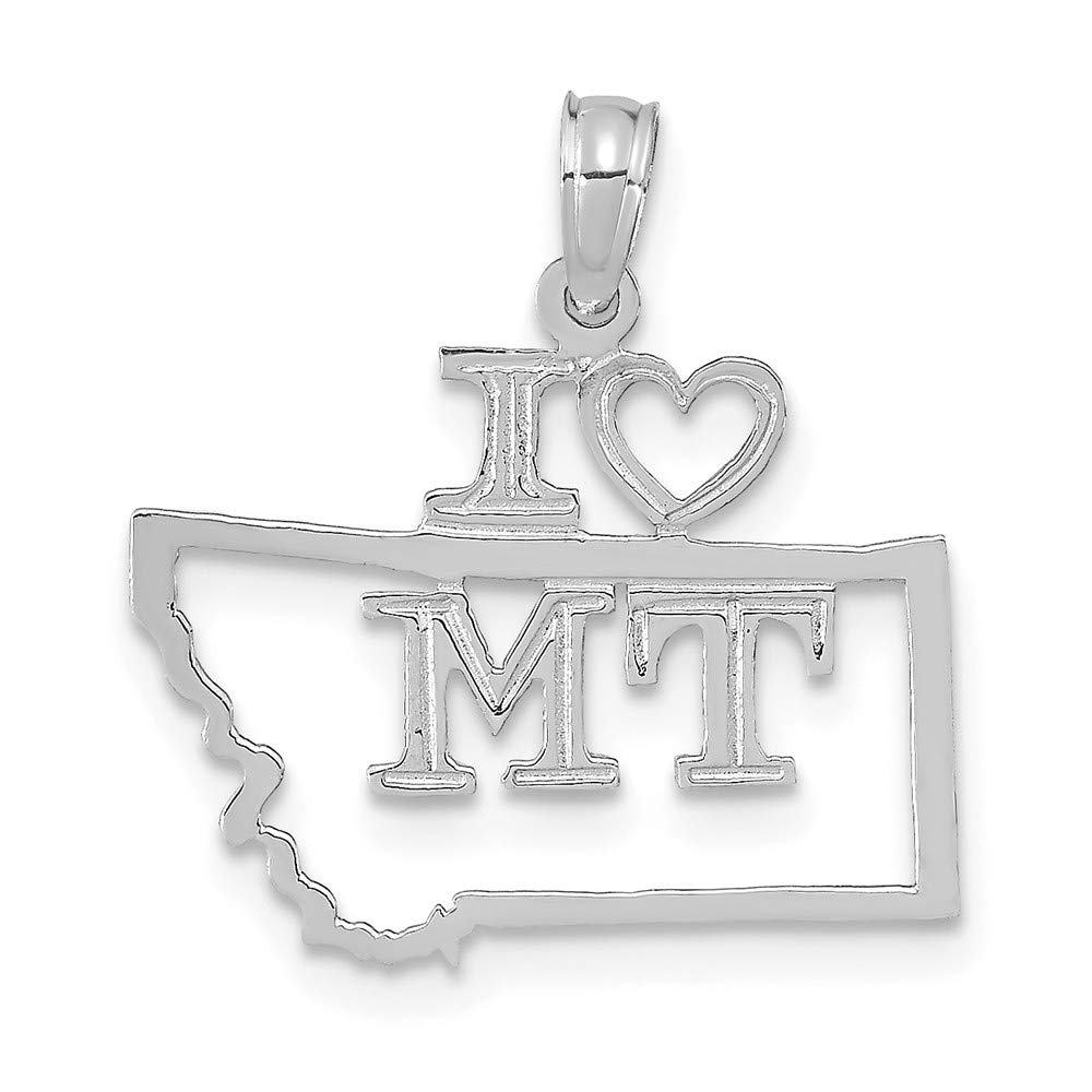 14K White Gold Solid Montana State Pendant