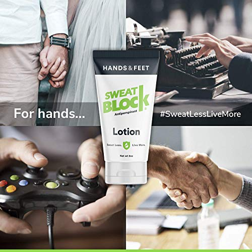 SweatBlock Antiperspirant Lotion for Sweaty Hands & Feet, Anti Sweat Lotion Hyperhidrosis Treatment for Hand and Foot Sweat Prevention