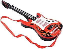 Wolfbush Banda Rock Música Guitarra Eléctrica 4 Cuerdas Niños Instrumentos Musicales Juguete Educativo - Llama Roja