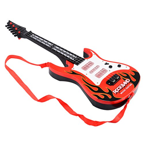 Guitar, WOLFBUSH Multi-function Kids Electric Guitar 4 Strings Musical Instruments Educational Toy Children Rock Band Music Used for Family Gatherings Performances Entertainment - Red (Childrens Electric Guitar)