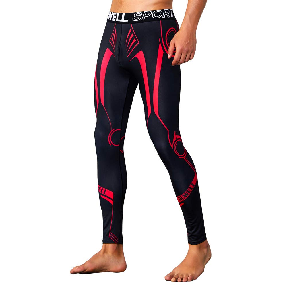 ASIbeiul Men's Color Patchwork Sports Fitness Print Pants Quick-Drying Breathable Tights(Red,L)