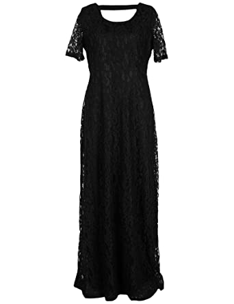 Vrikoo Womens Lace Plus Size Casual Evening Wedding Prom Maxi Dress