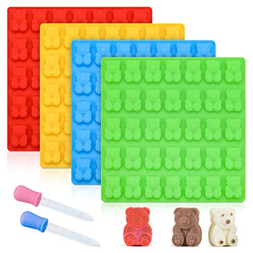 - Gummy Bear Molds Candy Molds - Large Gummy Molds 1 Inch Bear Chocolate Molds Silicone 4 Pack LFGB Pinch Test Approved Best Food Grade Silicone Molds