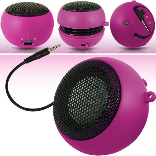 N4U Online Pink Super Sound Rechargeable Mini Pocket Size Portable Speaker 3.5Mm Audio Jack Built In With Usb Charger Lead Suitable For Blackberry 9500 Storm
