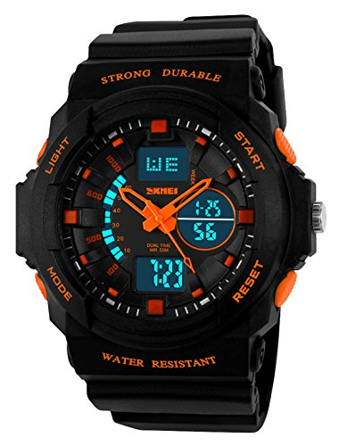 Kid LED Watch Child Boy Girl Sport Multi Function Digital Waterproof Electronic Quartz Watches Orange