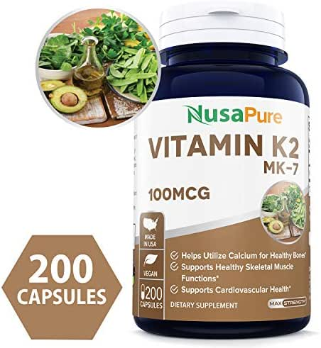 Vitamin K2 MK7 100mcg 200 Veggie Caps (Non-GMO, Vegetarian & Gluten Free) - Helps Utilize Calcium for Bones - Supports Healthy Skeletal Muscle Functions