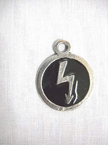 Marilyn Manson Round Black Inlay w Lightning Bolt Pendant ADJ Necklace