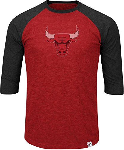 NBA Chicago Bulls Men's Excellent Attitude 3/4 Sleeve Crew-Neck Tee, Medium, Hyper Athletic Red Pepper Slub/Charcoal Heather