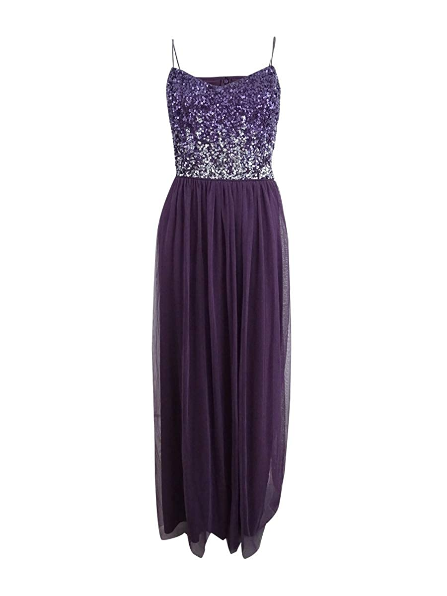 Currant Adrianna Papell Womens Sequined Party Evening Dress