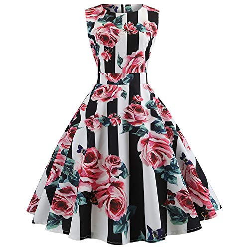 Womens Dress DEATU Clearance Ladies Elegance Vintage Sleeveless O Neck Evening Printing Party Prom Swing Dress(Pink A,XL) for $<!--$6.57-->