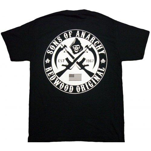 Anarchy Dark T-shirt - Sons Of Anarchy Redwood Original White Crest Tee Shirt XX-Large Black