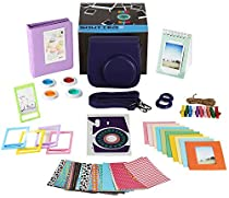 Fujifilm Instax Mini 9 or Mini 8 Instant Camera Accessories Bundle, 11 Piece Gift set Includes Instax Mini Case + Strap, 2 Photo Albums, Filters, Selfie lens, Hanging + Photo Frames, stickers & More.