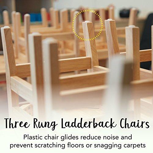 "ECR4Kids 12"" Hardwood 3-Rung Ladderback Chair, Natural (2-Pack)"