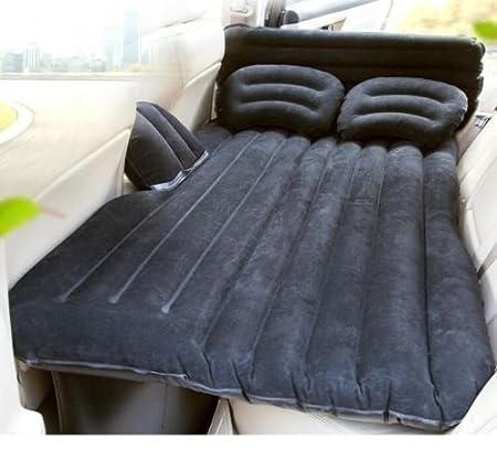szfmmy® Auto coche cama de aire inflable colchón asiento trasero extendida dormir resto cama sofá almohada al aire libre de viaje para SUVs y automóviles y camiones, negro