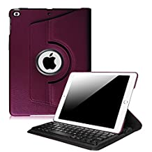 Fintie New iPad 9.7 inch 2017 / iPad Air 2 / iPad Air Keyboard Case - 360 Degree Rotating Stand Cover with Built-in Wireless Bluetooth Keyboard for Apple New iPad 9.7 inch 2017, iPad Air 1 2, Purple