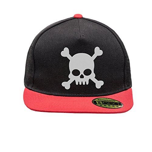 Black Plana Gorra Red Ajustable Cap Original Urbano Bordado Pirate Snapback y Visera Skull Unisex con Logotipo UqfPwEx5X