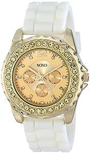 XOXO Women's XO8046 Rhinestone Accent White Silicone Strap Watch