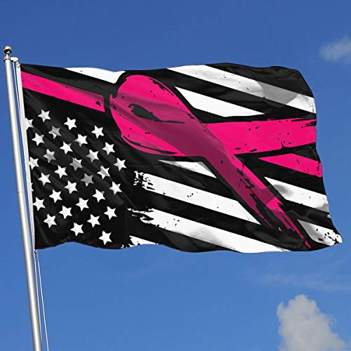 QphonesFlag Pink Ribbon Red Line American Flag Flag 3x5-Flags 90x150CM-Banner 3'x5' FT