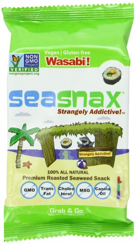 SeaSnax Grab and Go Roasted Seaweed Snack, Wasabi, 0.18-Ounce (Pack of 6)