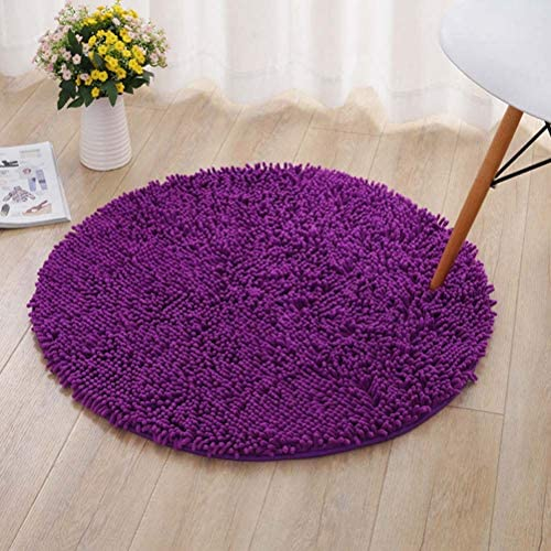 Jizzr Microfiber Shaggy Round Chenille Floor Area Rug Carpet Non-Slip Soft Front Door Mat Entryway Rug for Bathroom Bedroom Kitchen Ground Rugs Christmas Doormat Decoration Dark Purple 31.5 X 31.5
